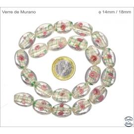 Perles en verre - Ovales/14 mm - Argenté