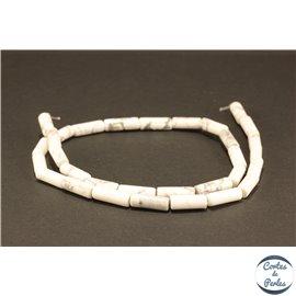 Perles semi précieuses en howlite - Tubes/5 mm