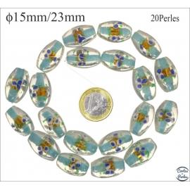 Perles en verre - Ovales/15 mm - Turquoise