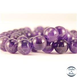 Perles semi précieuses en Améthyste - Ronde/10 mm - Grade AB