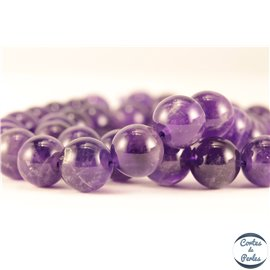 Perles semi précieuses en améthyste - Rondes/10 mm - Grade AB