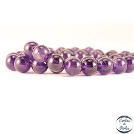 Perles semi précieuses en améthyste - Rondes/10 mm - Dark - Grade AB