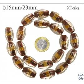 Perles en verre - Ovales/15 mm - Marron