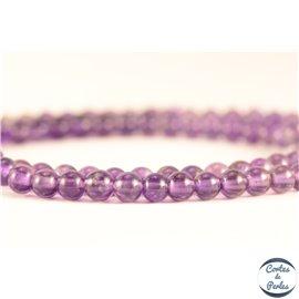 Perles semi précieuses en améthyste - Rondes/4 mm - Dark - Grade AB