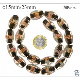 Perles en verre - Ovales/15 mm - Noir