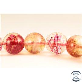 Perles semi précieuses en cristal crack - Rondes/10 mm - Corail