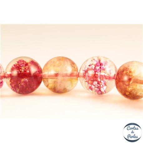 Perles semi précieuses en Cristal Crack - Ronde/10 mm - Corail