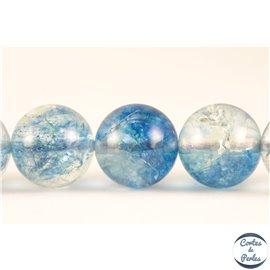 Perles semi précieuses en cristal crack - Rondes/10 mm - Bleu ciel