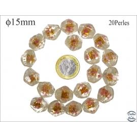 Perles en verre - Pépites/15 mm - Doré