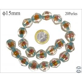 Perles en verre - Pépites/15 mm - Turquoise