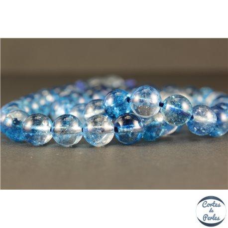 Perles semi précieuses en Cristal Crack - Ronde/8 mm - Bleu Ciel
