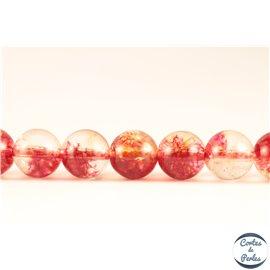 Perles semi précieuses en cristal crack - Rondes/8 mm - Corail