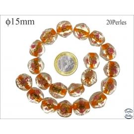 Perles en verre - Pépites/15 mm - Orange