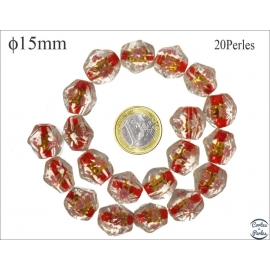 Perles en verre - Pépites/15 mm - Rouge