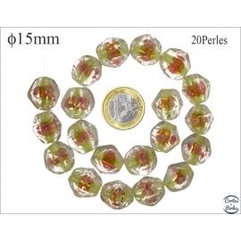 Perles en verre - Pépites/15 mm - Vert anis