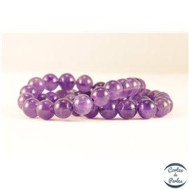 Perles semi précieuses en améthyste - Rondes/8 mm - Grade AB