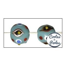 Perles en verre - Rondes/12 mm - Bleu
