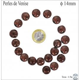 Perles en verre - Rondes/14 mm - Grenat