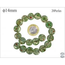 Perles en verre - Rondes/14 mm - Vert lagon