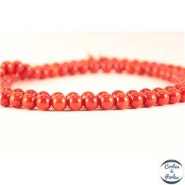Perles semi précieuses en Corail - Ronde/4 mm - Rouge