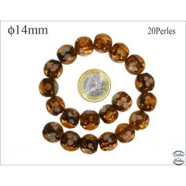 Perles en verre - Rondes/14 mm - Topaze