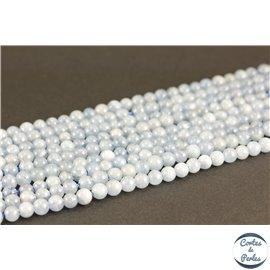 Perles semi précieuses en aigue marine - Rondes/4 mm - Grade A