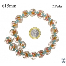 Perles en verre - Rondes/15 mm - Bleu ciel