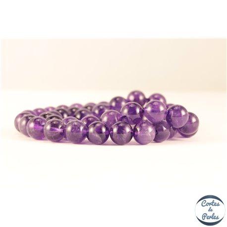 Perles semi précieuses en Améthyste - Ronde/8 mm - Dark - Grade AB