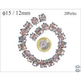 Perles en verre - Rondes/15 mm - Rose et turquoise