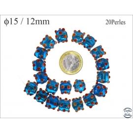 Perles en verre - Rondes/15 mm - Bleu océan et rouge
