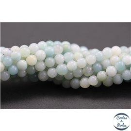 Perles semi précieuses en amazonite - Rondes/4 - 5 mm - Aquamarine light - Grade A