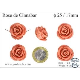 Perles semi précieuses en Cinabre - Fleur/25 mm - Rose