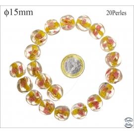 Perles en verre - Rondes/15 mm - Jaune canari