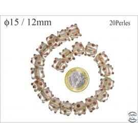 Perles en verre - Rondes/15 mm - Transparent et taupe