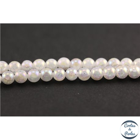 Perles semi précieuses en cristal crack - Rondes/5 mm - Transparent nacré