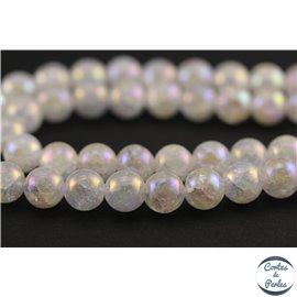 Perles semi précieuses en cristal crack - Rondes/9 mm - Transparent nacré