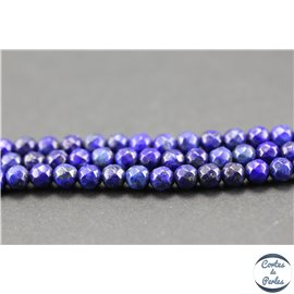 Perles semi précieuses en lapis lazuli - Pépites/4 mm - Bleu lapis