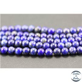 Perles semi précieuses en lapis lazuli - Rondes/4 mm - Bleu lapis