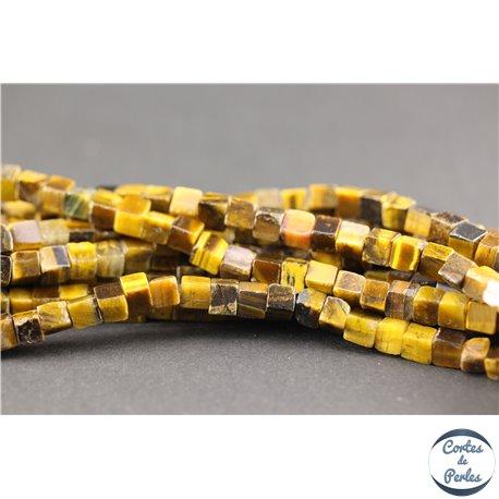 Perles semi précieuses en oeil de tigre - Cubes/4 mm - Marron