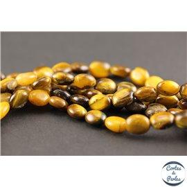 Perles semi précieuses en oeil de tigre - Ovales/10 - 11 mm - Marron