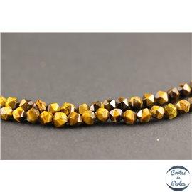 Perles semi précieuses en oeil de tigre - Pépites/6 mm - Marron
