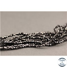 Perles en verre - Toupies/2 mm - Noir brillant