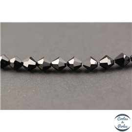 Perles en verre - Toupies/8 mm - Noir brillant