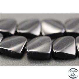 Perles semi précieuses en obsidienne - Carrées/16 mm - Noir brillant
