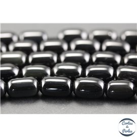 Perles semi précieuses en obsidienne - Tonneaux/8 mm - Noir brillant