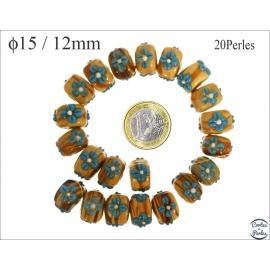 Perles de Venise - Roue/15 mm - Jaune