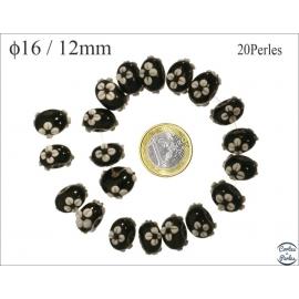 Perles de Venise - Roue/15 mm - Noir