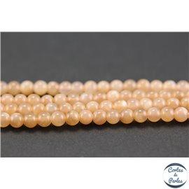 Perles semi précieuses en pierre de soleil - Rondes/4 mm - Rose saumon - Grade AAA