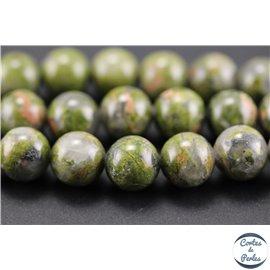 Perles semi précieuses en unakite - Rondes/10 mm - Vert rose