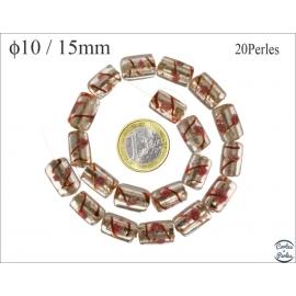Perles de Venise - Tube/15 mm - Argenté